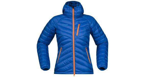 Bergans W's Slingsbytind Down Jacket m/Hood Athens Blue/Pumpkin/Light Winter Sky